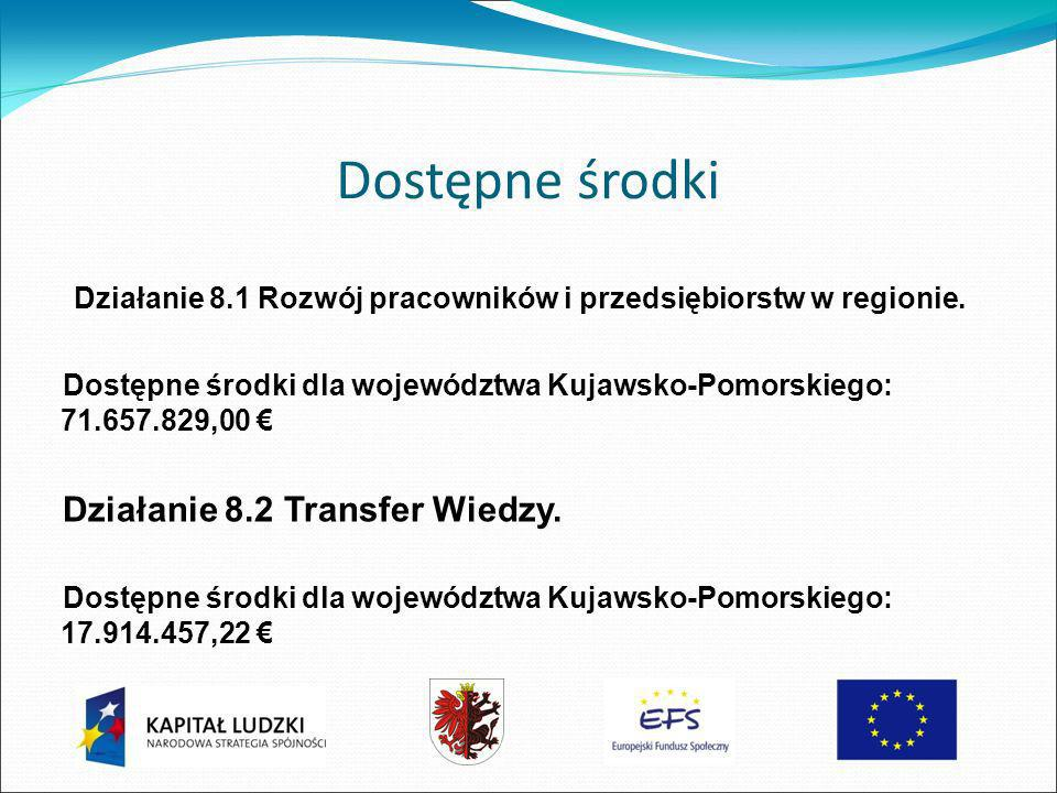 Dostępne środki Działanie 8.1 Rozwój pracowników i przedsiębiorstw w regionie.