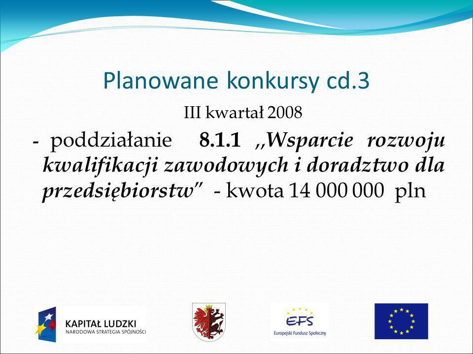 Planowane konkursy cd.3 III kwartał 2008 - poddziałanie 8.1.1,, Wsparcie rozwoju kwalifikacji zawodowych i doradztwo dla przedsiębiorstw - kwota 14 000 000 pln