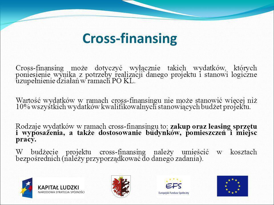 Cross-finansing Cross-finansing może dotyczyć wyłącznie takich wydatków, których poniesienie wynika z potrzeby realizacji danego projektu i stanowi logiczne uzupełnienie działań w ramach PO KL.