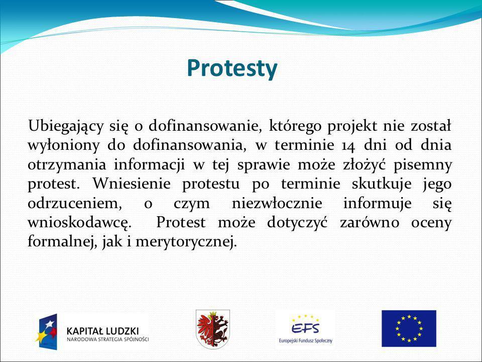 Protesty Ubiegający się o dofinansowanie, którego projekt nie został wyłoniony do dofinansowania, w terminie 14 dni od dnia otrzymania informacji w tej sprawie może złożyć pisemny protest.