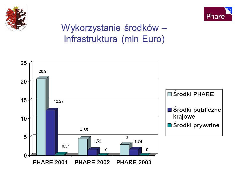 Wykorzystanie środków – Infrastruktura (mln Euro)