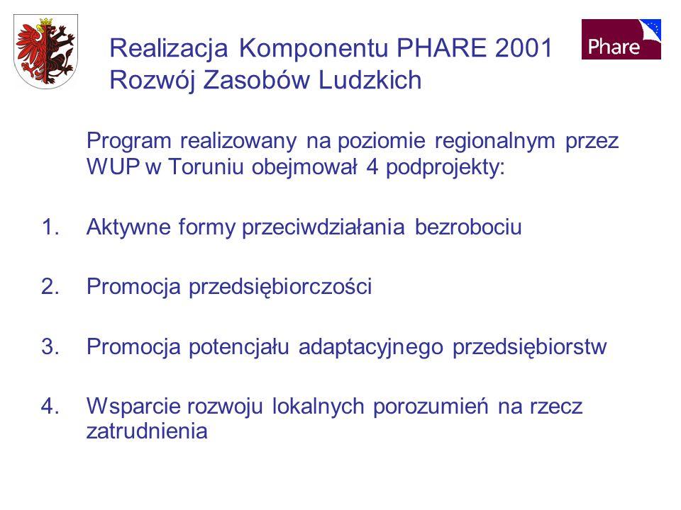 Realizacja Komponentu PHARE 2001 Rozwój Zasobów Ludzkich Program realizowany na poziomie regionalnym przez WUP w Toruniu obejmował 4 podprojekty: 1.Aktywne formy przeciwdziałania bezrobociu 2.Promocja przedsiębiorczości 3.Promocja potencjału adaptacyjnego przedsiębiorstw 4.Wsparcie rozwoju lokalnych porozumień na rzecz zatrudnienia