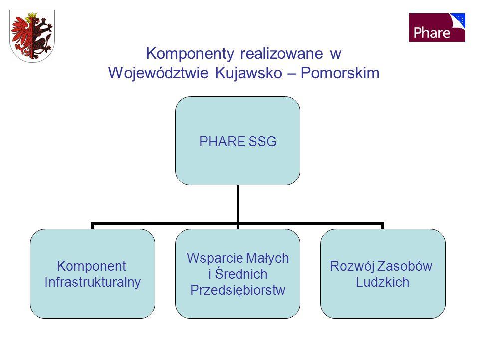 Komponenty realizowane w Województwie Kujawsko – Pomorskim PHARE SSG Komponent Infrastrukturalny Wsparcie Małych i Średnich Przedsiębiorstw Rozwój Zasobów Ludzkich