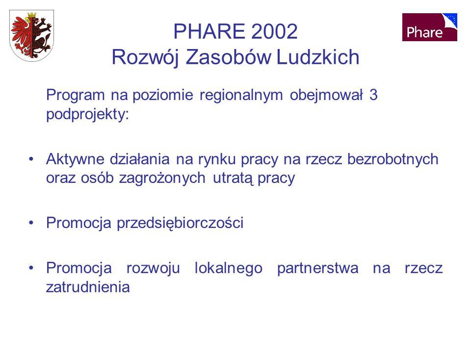 PHARE 2002 Rozwój Zasobów Ludzkich Program na poziomie regionalnym obejmował 3 podprojekty: Aktywne działania na rynku pracy na rzecz bezrobotnych oraz osób zagrożonych utratą pracy Promocja przedsiębiorczości Promocja rozwoju lokalnego partnerstwa na rzecz zatrudnienia