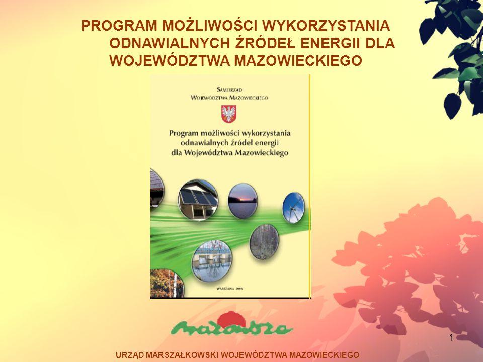 12 Program możliwości wykorzystania odnawialnych źródeł energii dla Województwa Mazowieckiego Potencjał – w powiatach mławskim, płockim, siedleckim, żuromińskim, sierpeckim, płońskim, ostrowskim, ostrołęckim (duża koncentracja hodowli zwierząt), Bariery – wysokie koszty instalacji.