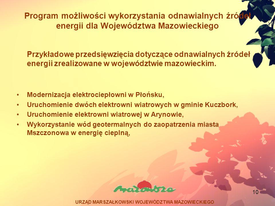 10 Program możliwości wykorzystania odnawialnych źródeł energii dla Województwa Mazowieckiego Przykładowe przedsięwzięcia dotyczące odnawialnych źróde