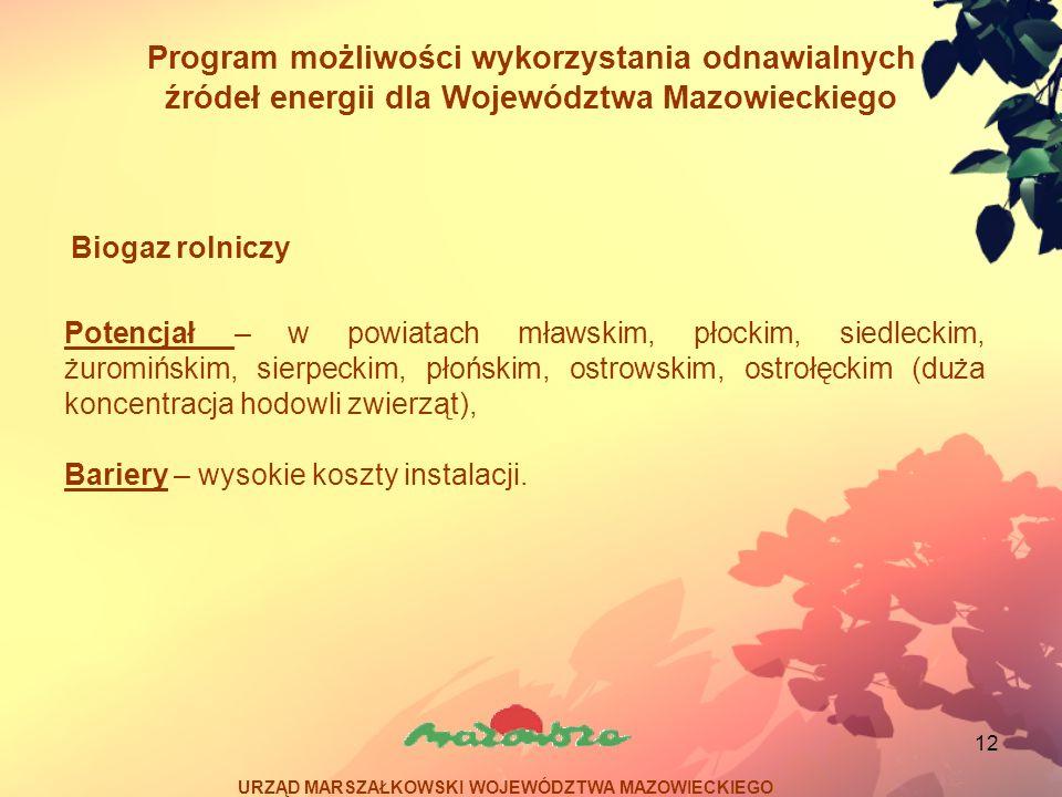 12 Program możliwości wykorzystania odnawialnych źródeł energii dla Województwa Mazowieckiego Potencjał – w powiatach mławskim, płockim, siedleckim, ż
