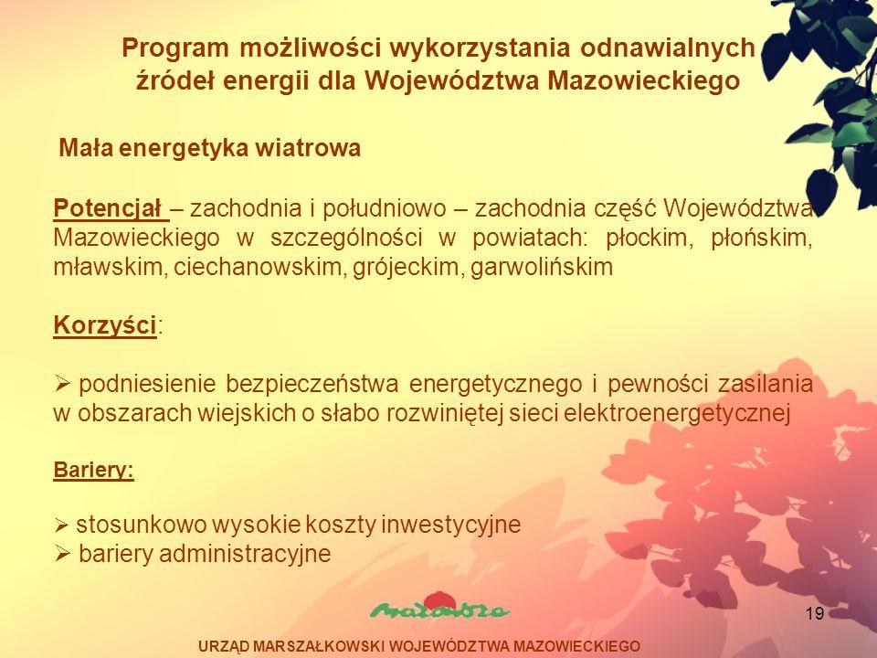 19 Program możliwości wykorzystania odnawialnych źródeł energii dla Województwa Mazowieckiego Potencjał – zachodnia i południowo – zachodnia część Woj