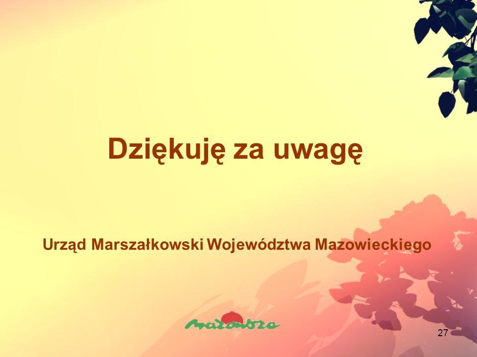 27 Dziękuję za uwagę Urząd Marszałkowski Województwa Mazowieckiego