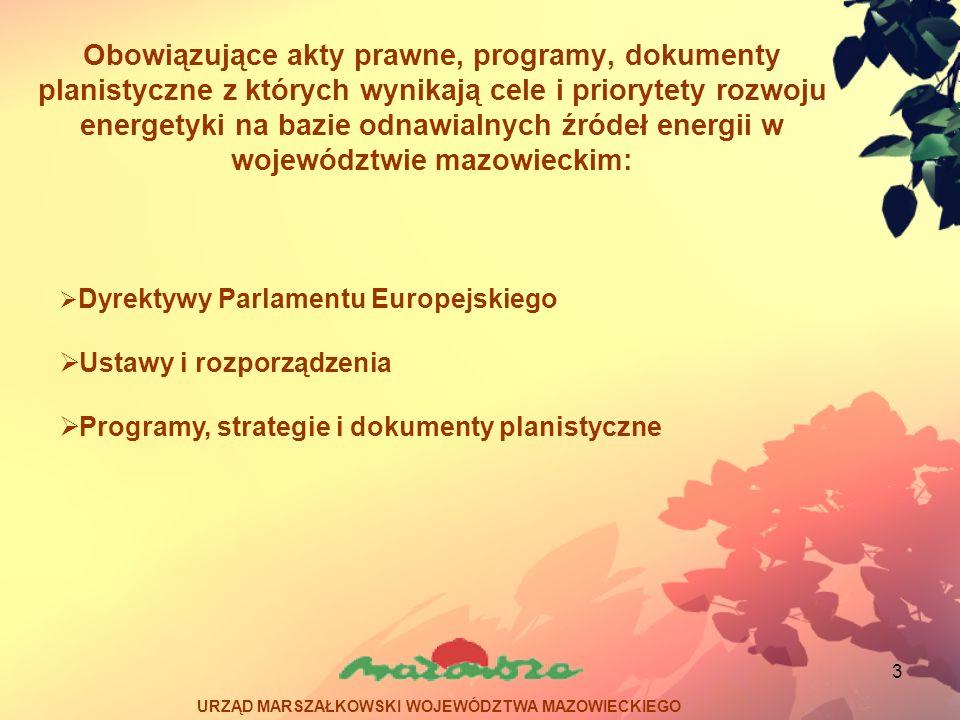 14 Program możliwości wykorzystania odnawialnych źródeł energii dla Województwa Mazowieckiego Potencjał – biomasa drzewna, największy w powiatach: makowskim, ostrowskim, ostrołęckim, przasnyskim, wyszkowskim, grójeckim, garwolińskim Słoma – ciechanowski, płocki, płoński, sochaczewski, lipski, radomski, zwoleński Na podstawie wyników programu - w przyszłości biomasa będzie miała największy udział wśród paliw odnawialnych (duże systemy grzewcze, małe instalacje domowe).