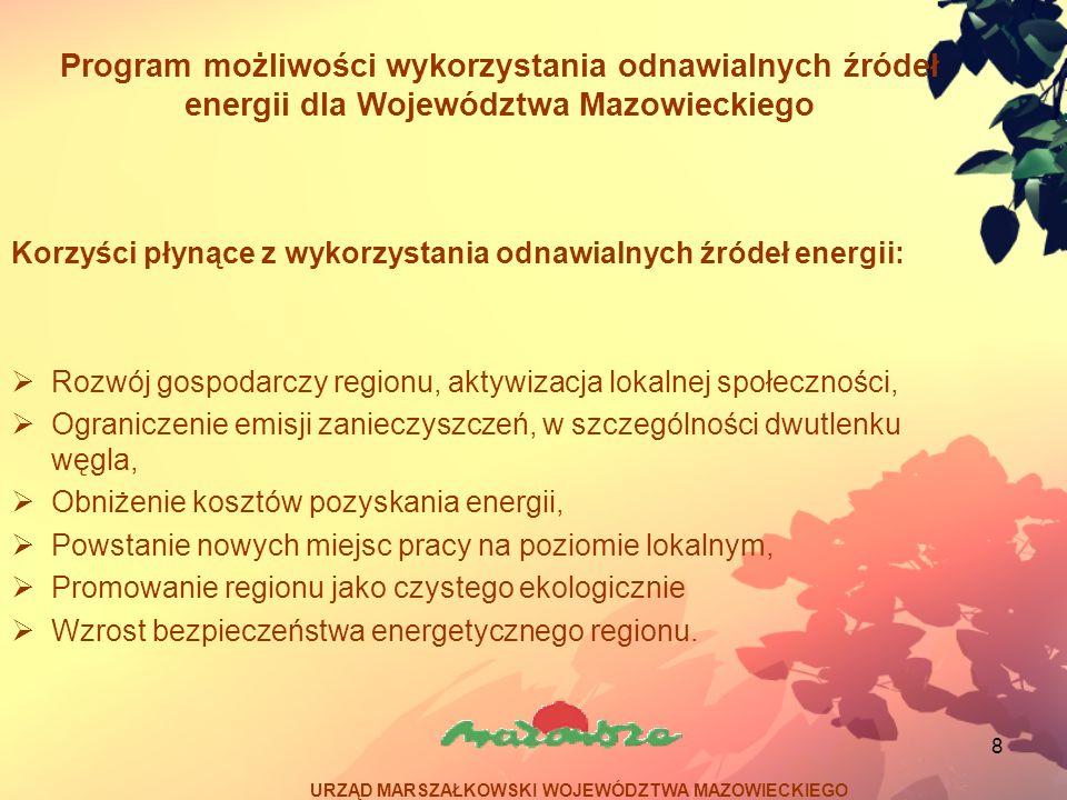 19 Program możliwości wykorzystania odnawialnych źródeł energii dla Województwa Mazowieckiego Potencjał – zachodnia i południowo – zachodnia część Województwa Mazowieckiego w szczególności w powiatach: płockim, płońskim, mławskim, ciechanowskim, grójeckim, garwolińskim Korzyści: podniesienie bezpieczeństwa energetycznego i pewności zasilania w obszarach wiejskich o słabo rozwiniętej sieci elektroenergetycznej Bariery: stosunkowo wysokie koszty inwestycyjne bariery administracyjne URZĄD MARSZAŁKOWSKI WOJEWÓDZTWA MAZOWIECKIEGO Mała energetyka wiatrowa