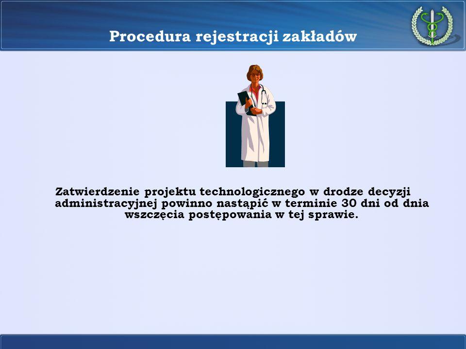 Procedura rejestracji zakładów Zatwierdzenie projektu technologicznego w drodze decyzji administracyjnej powinno nastąpić w terminie 30 dni od dnia ws