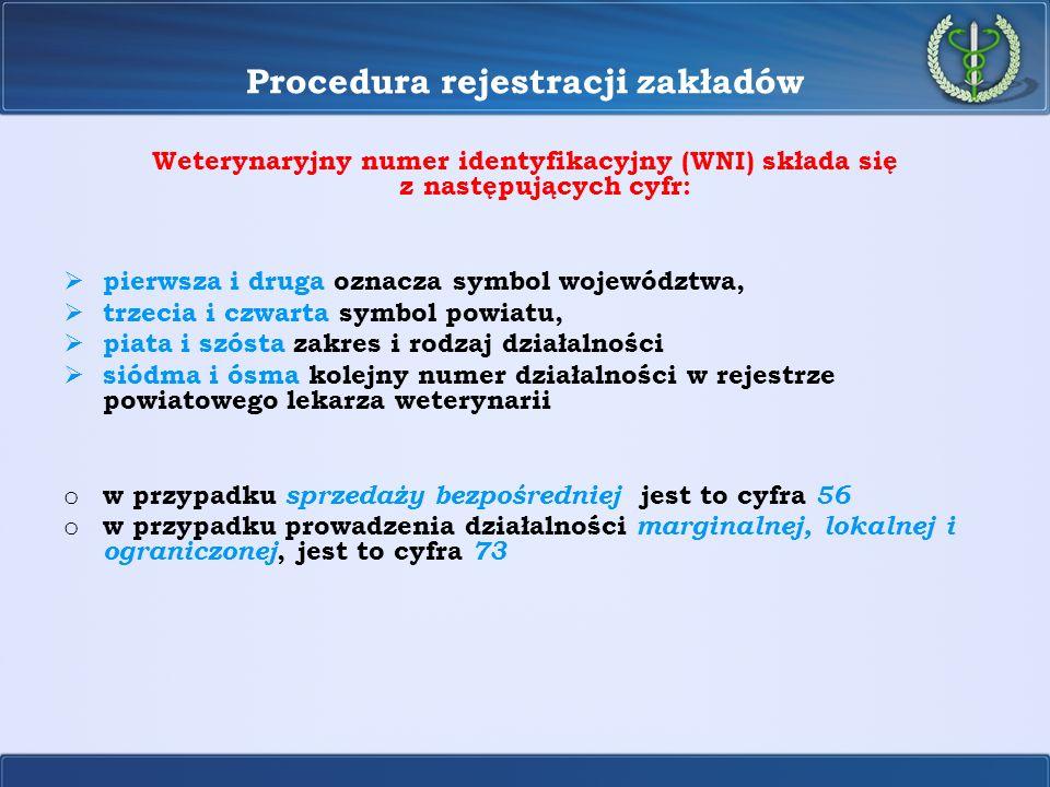 Procedura rejestracji zakładów Weterynaryjny numer identyfikacyjny (WNI) składa się z następujących cyfr: pierwsza i druga oznacza symbol województwa,
