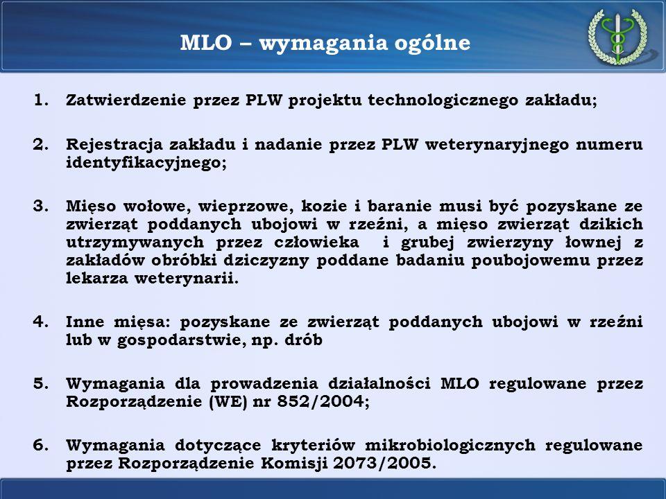 MLO – wymagania ogólne 1.Zatwierdzenie przez PLW projektu technologicznego zakładu; 2.Rejestracja zakładu i nadanie przez PLW weterynaryjnego numeru i