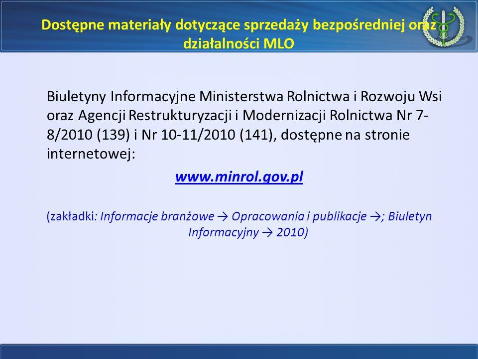 Dostępne materiały dotyczące sprzedaży bezpośredniej oraz działalności MLO Biuletyny Informacyjne Ministerstwa Rolnictwa i Rozwoju Wsi oraz Agencji Re
