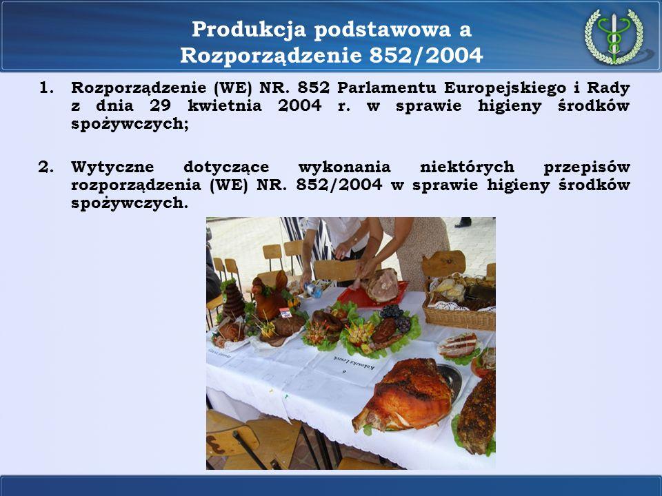 Produkcja podstawowa a Rozporządzenie 852/2004 1.Rozporządzenie (WE) NR. 852 Parlamentu Europejskiego i Rady z dnia 29 kwietnia 2004 r. w sprawie higi