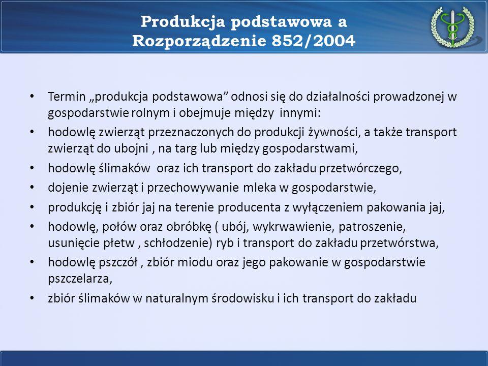 Produkcja podstawowa a Rozporządzenie 852/2004 Termin produkcja podstawowa odnosi się do działalności prowadzonej w gospodarstwie rolnym i obejmuje mi