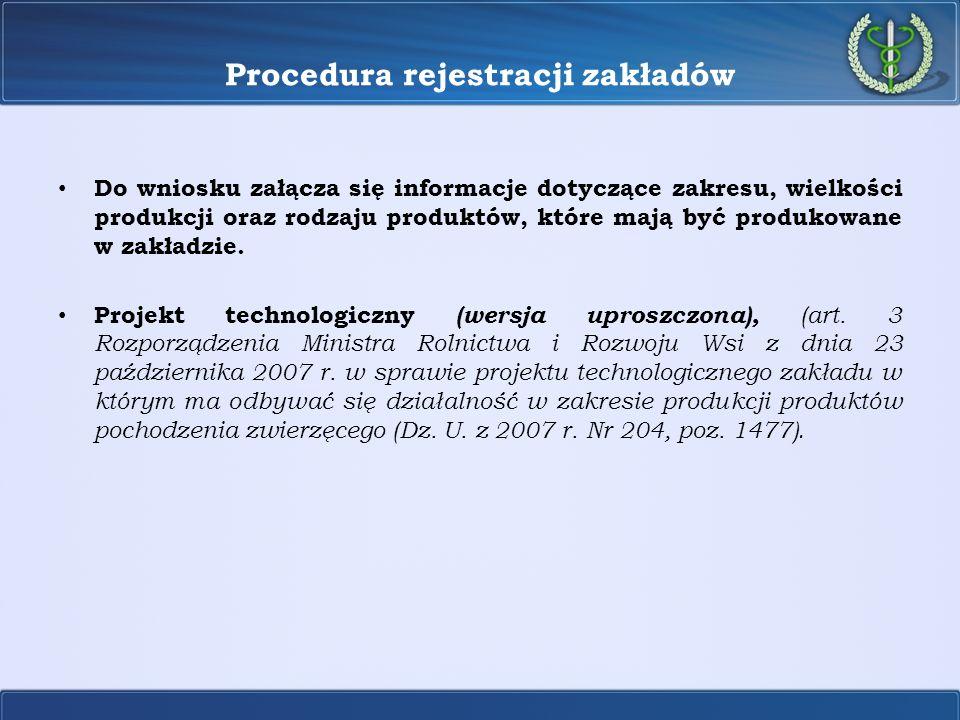 Procedura rejestracji zakładów Do wniosku załącza się informacje dotyczące zakresu, wielkości produkcji oraz rodzaju produktów, które mają być produko