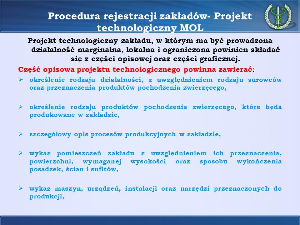 Procedura rejestracji zakładów- Projekt technologiczny MOL Projekt technologiczny zakładu, w którym ma być prowadzona działalność marginalna, lokalna