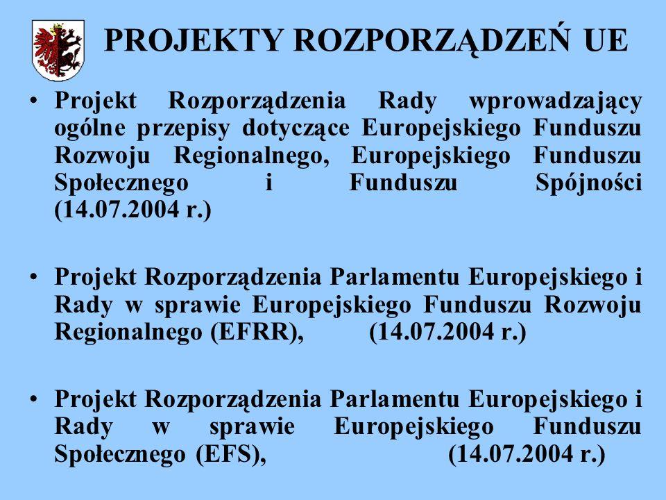 PROJEKTY ROZPORZĄDZEŃ UE Projekt Rozporządzenia Rady wprowadzający ogólne przepisy dotyczące Europejskiego Funduszu Rozwoju Regionalnego, Europejskiego Funduszu Społecznego i Funduszu Spójności (14.07.2004 r.) Projekt Rozporządzenia Parlamentu Europejskiego i Rady w sprawie Europejskiego Funduszu Rozwoju Regionalnego (EFRR), (14.07.2004 r.) Projekt Rozporządzenia Parlamentu Europejskiego i Rady w sprawie Europejskiego Funduszu Społecznego (EFS), (14.07.2004 r.)