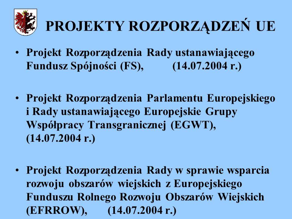 PROJEKTY ROZPORZĄDZEŃ UE Projekt Rozporządzenia Rady ustanawiającego Fundusz Spójności (FS), (14.07.2004 r.) Projekt Rozporządzenia Parlamentu Europejskiego i Rady ustanawiającego Europejskie Grupy Współpracy Transgranicznej (EGWT), (14.07.2004 r.) Projekt Rozporządzenia Rady w sprawie wsparcia rozwoju obszarów wiejskich z Europejskiego Funduszu Rolnego Rozwoju Obszarów Wiejskich (EFRROW), (14.07.2004 r.)