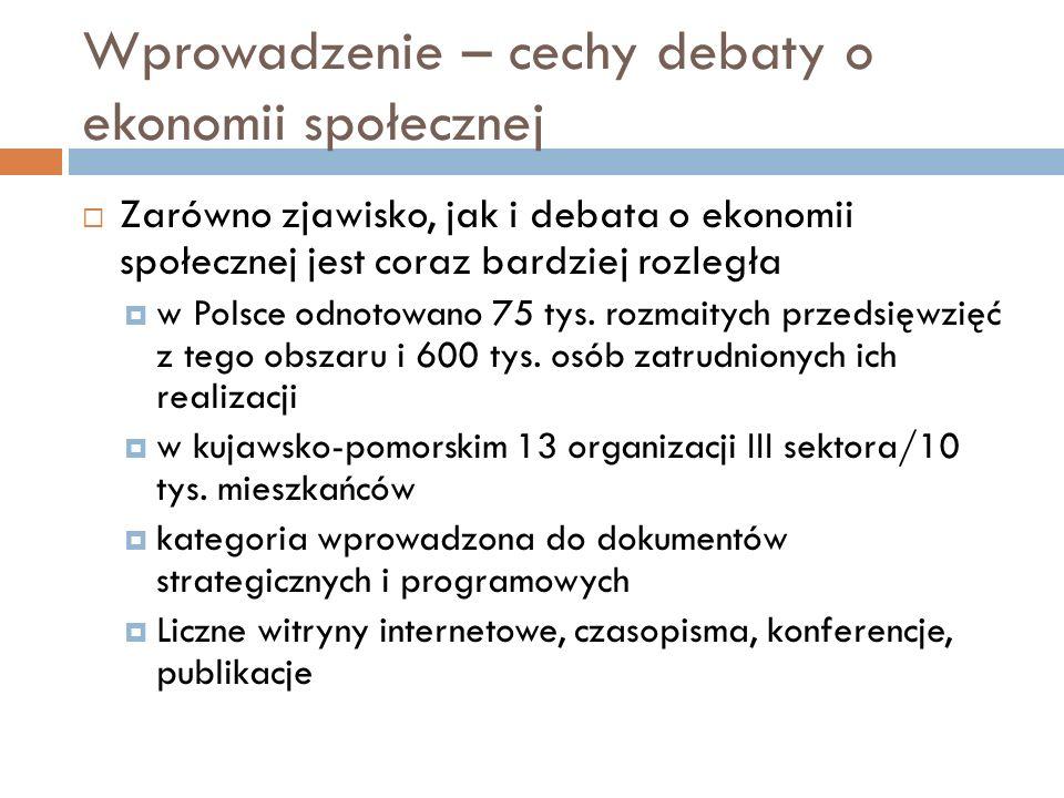 Wprowadzenie – cechy debaty o ekonomii społecznej Zarówno zjawisko, jak i debata o ekonomii społecznej jest coraz bardziej rozległa w Polsce odnotowano 75 tys.