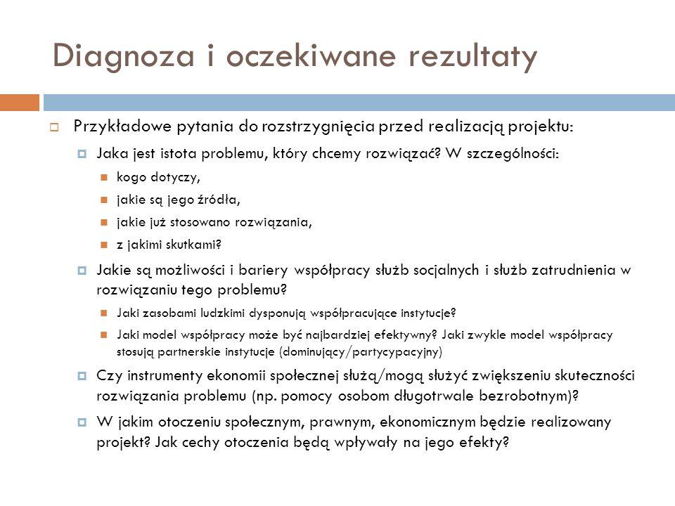 Diagnoza i oczekiwane rezultaty Przykładowe pytania do rozstrzygnięcia przed realizacją projektu: Jaka jest istota problemu, który chcemy rozwiązać? W