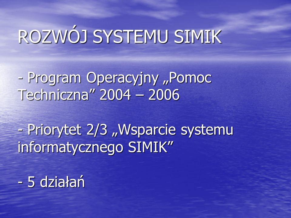 ROZWÓJ SYSTEMU SIMIK - Program Operacyjny Pomoc Techniczna 2004 – 2006 - Priorytet 2/3 Wsparcie systemu informatycznego SIMIK - 5 działań
