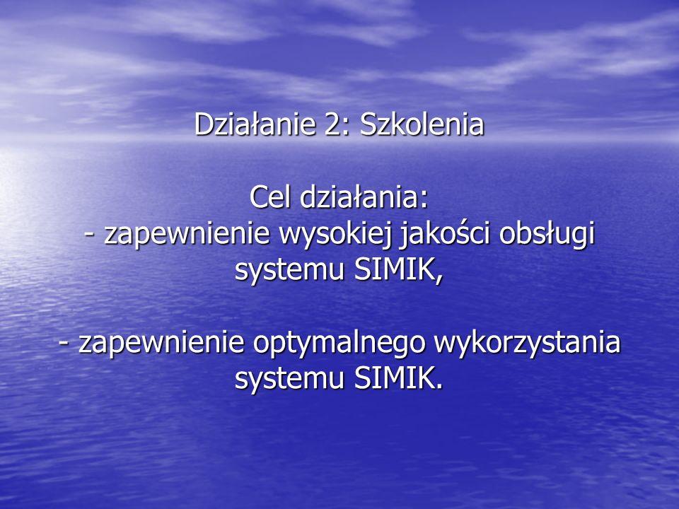 Działanie 2: Szkolenia Cel działania: - zapewnienie wysokiej jakości obsługi systemu SIMIK, - zapewnienie optymalnego wykorzystania systemu SIMIK.