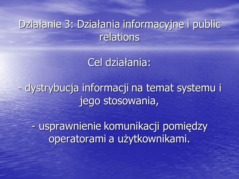 Działanie 3: Działania informacyjne i public relations Cel działania: - dystrybucja informacji na temat systemu i jego stosowania, - usprawnienie komunikacji pomiędzy operatorami a użytkownikami.
