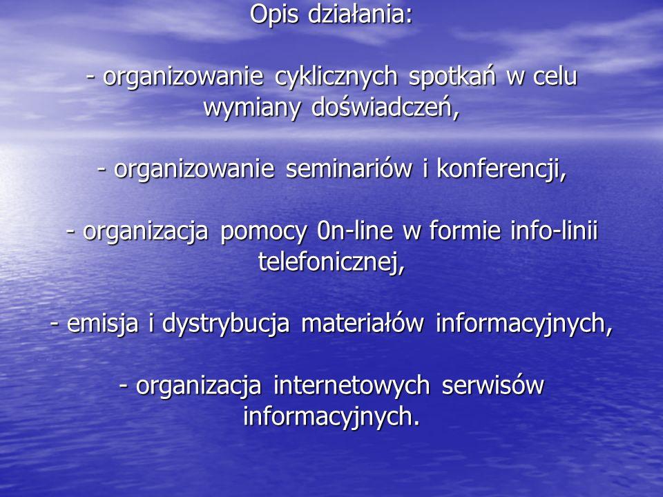 Opis działania: - organizowanie cyklicznych spotkań w celu wymiany doświadczeń, - organizowanie seminariów i konferencji, - organizacja pomocy 0n-line w formie info-linii telefonicznej, - emisja i dystrybucja materiałów informacyjnych, - organizacja internetowych serwisów informacyjnych.