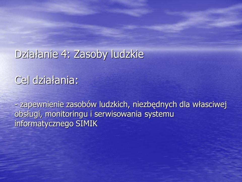 Działanie 4: Zasoby ludzkie Cel działania: - zapewnienie zasobów ludzkich, niezbędnych dla własciwej obsługi, monitoringu i serwisowania systemu informatycznego SIMIK
