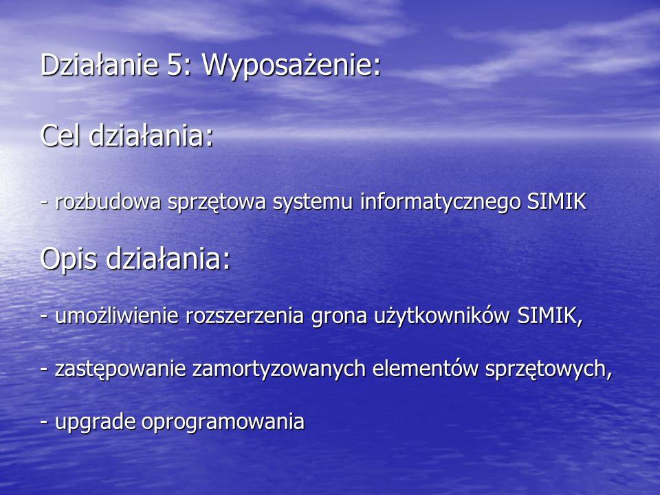 Działanie 5: Wyposażenie: Cel działania: - rozbudowa sprzętowa systemu informatycznego SIMIK Opis działania: - umożliwienie rozszerzenia grona użytkowników SIMIK, - zastępowanie zamortyzowanych elementów sprzętowych, - upgrade oprogramowania