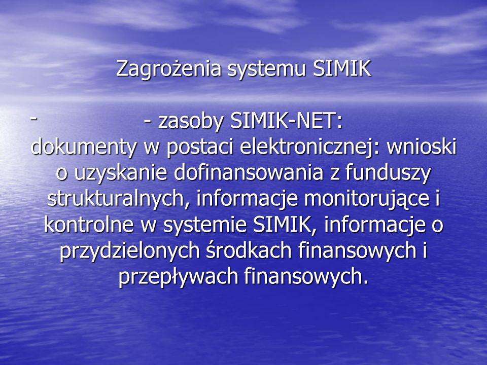 Zagrożenia systemu SIMIK - zasoby SIMIK-NET: dokumenty w postaci elektronicznej: wnioski o uzyskanie dofinansowania z funduszy strukturalnych, informacje monitorujące i kontrolne w systemie SIMIK, informacje o przydzielonych środkach finansowych i przepływach finansowych.