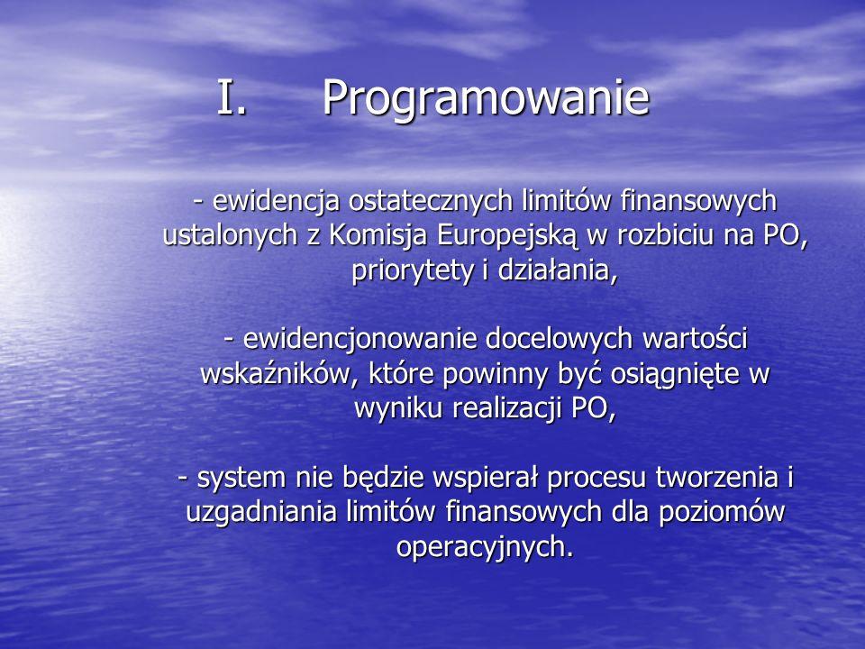I.Programowanie - ewidencja ostatecznych limitów finansowych ustalonych z Komisja Europejską w rozbiciu na PO, priorytety i działania, - ewidencjonowanie docelowych wartości wskaźników, które powinny być osiągnięte w wyniku realizacji PO, - system nie będzie wspierał procesu tworzenia i uzgadniania limitów finansowych dla poziomów operacyjnych.