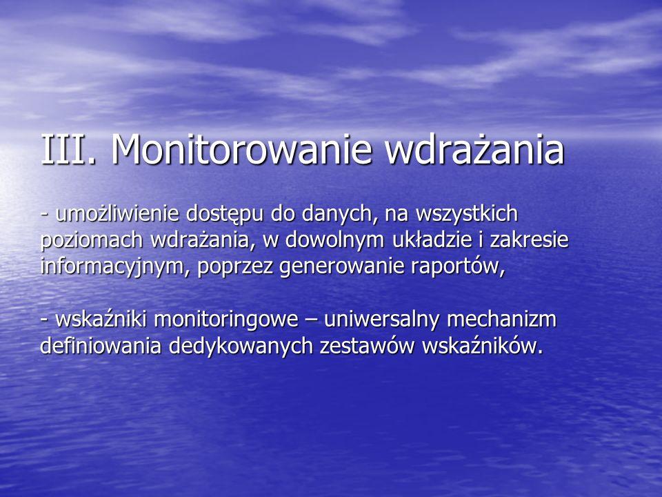III. Monitorowanie wdrażania - umożliwienie dostępu do danych, na wszystkich poziomach wdrażania, w dowolnym układzie i zakresie informacyjnym, poprze