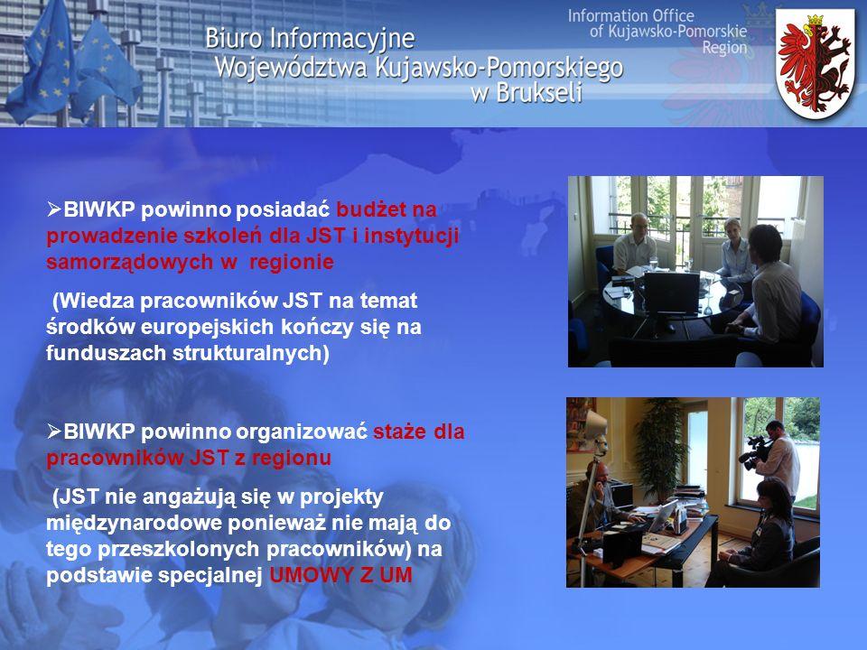 BIWKP powinno posiadać budżet na prowadzenie szkoleń dla JST i instytucji samorządowych w regionie (Wiedza pracowników JST na temat środków europejskich kończy się na funduszach strukturalnych) BIWKP powinno organizować staże dla pracowników JST z regionu (JST nie angażują się w projekty międzynarodowe ponieważ nie mają do tego przeszkolonych pracowników) na podstawie specjalnej UMOWY Z UM