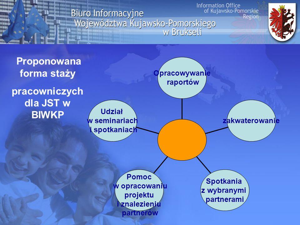 Dyrektor Pracownik BIWKP Stażysta z JST -Zarządzanie BIWKP -Spotkania z kluczowymi partnerami - opieka merytoryczna nad stażystami -nadzorowanie realizowanych projektów międzyn.