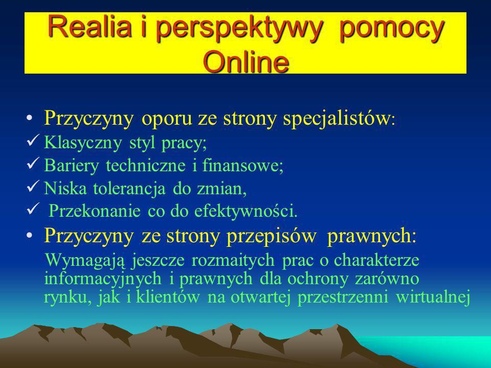 Realia i perspektywy pomocy Online Przyczyny oporu ze strony specjalistów : Klasyczny styl pracy; Bariery techniczne i finansowe; Niska tolerancja do
