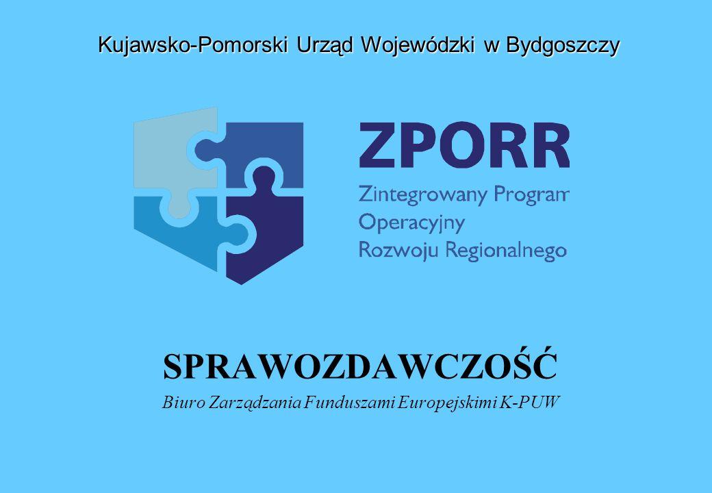 SPRAWOZDAWCZOŚĆ Biuro Zarządzania Funduszami Europejskimi K-PUW Kujawsko-Pomorski Urząd Wojewódzki w Bydgoszczy