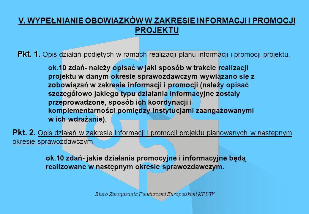 Biuro Zarządzania Funduszami Europejskimi KPUW V. WYPEŁNIANIE OBOWIĄZKÓW W ZAKRESIE INFORMACJI I PROMOCJI PROJEKTU Pkt. 1. Pkt. 1. Opis działań podjęt