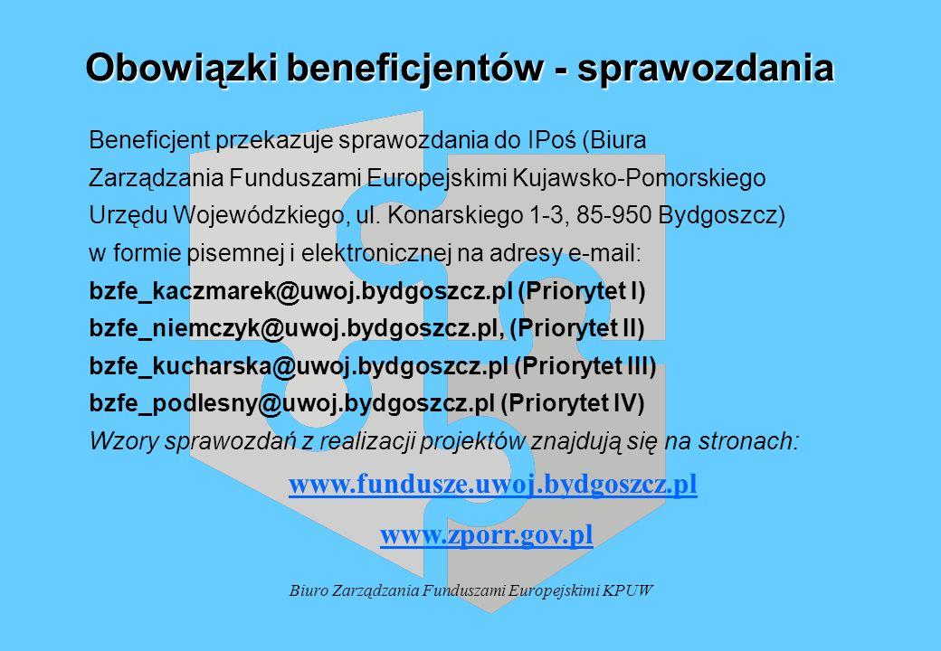 Biuro Zarządzania Funduszami Europejskimi KPUW Obowiązki beneficjentów - sprawozdania Beneficjent przekazuje sprawozdania do IPoś (Biura Zarządzania F