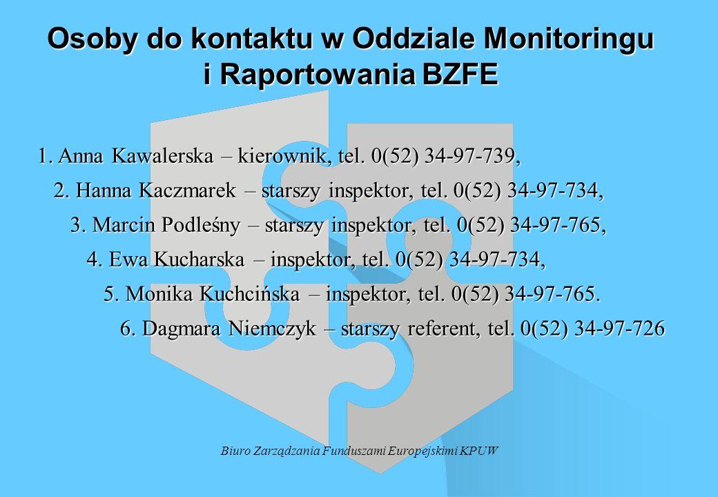 Biuro Zarządzania Funduszami Europejskimi KPUW Osoby do kontaktu w Oddziale Monitoringu i Raportowania BZFE 1. Anna Kawalerska – kierownik, tel. 0(52)