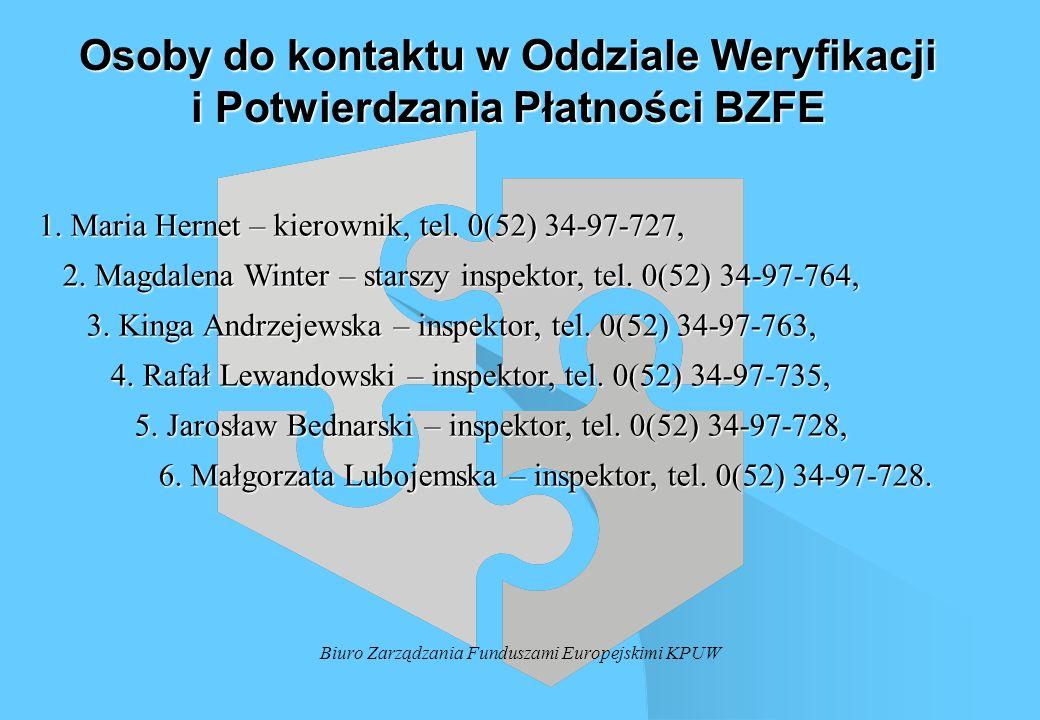 Biuro Zarządzania Funduszami Europejskimi KPUW Osoby do kontaktu w Oddziale Weryfikacji i Potwierdzania Płatności BZFE 1. Maria Hernet – kierownik, te