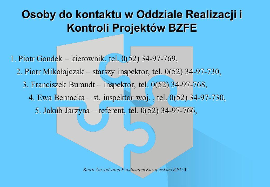 Biuro Zarządzania Funduszami Europejskimi KPUW Osoby do kontaktu w Oddziale Realizacji i Kontroli Projektów BZFE 1. Piotr Gondek – kierownik, tel. 0(5