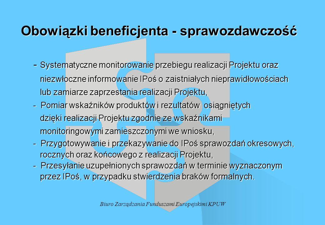 Biuro Zarządzania Funduszami Europejskimi KPUW Obowiązki beneficjenta - sprawozdawczość - Systematyczne monitorowanie przebiegu realizacji Projektu or
