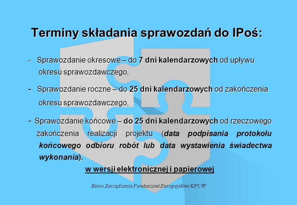 Biuro Zarządzania Funduszami Europejskimi KPUW Terminy składania sprawozdań do IPoś: Terminy składania sprawozdań do IPoś: - Sprawozdanie okresowe – d
