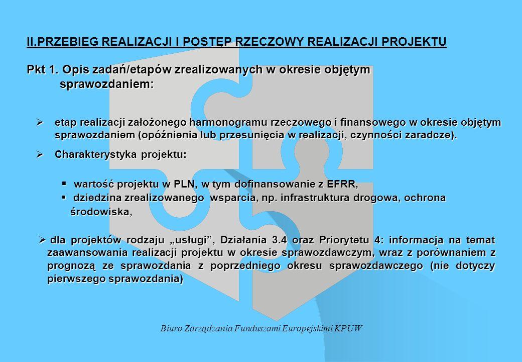 Biuro Zarządzania Funduszami Europejskimi KPUW II.PRZEBIEG REALIZACJI I POSTĘP RZECZOWY REALIZACJI PROJEKTU Pkt 1. Opis zadań/etapów zrealizowanych w