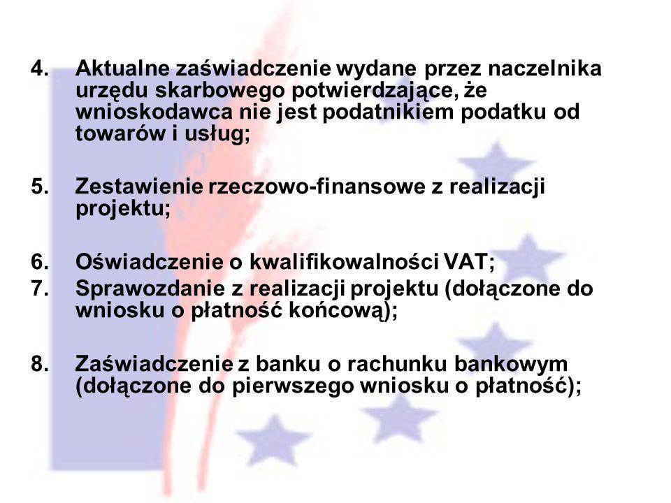 4.Aktualne zaświadczenie wydane przez naczelnika urzędu skarbowego potwierdzające, że wnioskodawca nie jest podatnikiem podatku od towarów i usług; 5.Zestawienie rzeczowo-finansowe z realizacji projektu; 6.Oświadczenie o kwalifikowalności VAT; 7.Sprawozdanie z realizacji projektu (dołączone do wniosku o płatność końcową); 8.Zaświadczenie z banku o rachunku bankowym (dołączone do pierwszego wniosku o płatność);