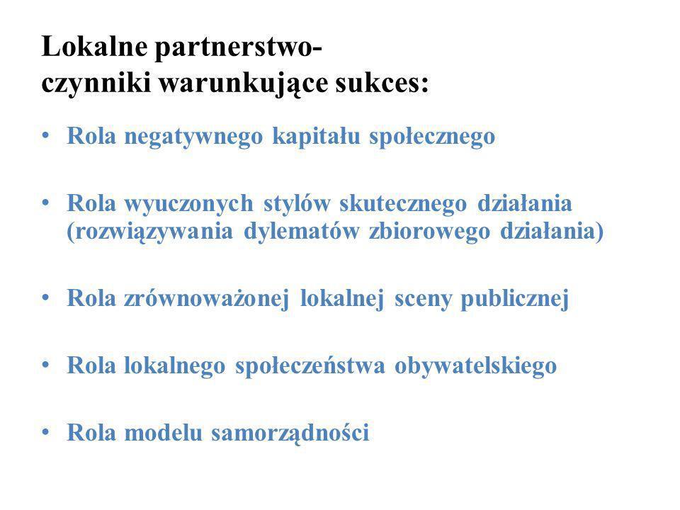 Lokalne partnerstwo- czynniki warunkujące sukces: Rola negatywnego kapitału społecznego Rola wyuczonych stylów skutecznego działania (rozwiązywania dy